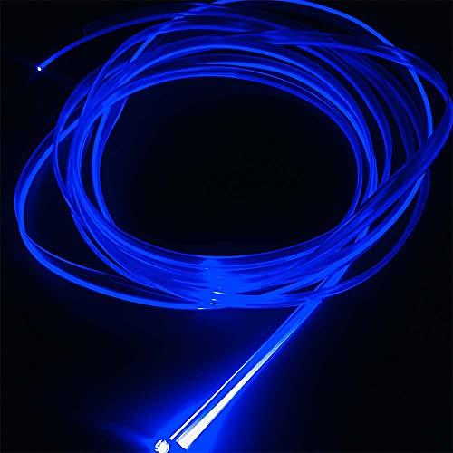 Kit de fuente de luz de fibra óptica de plástico ambiental de 2 mm 5 metros para coche (5 V USB, azul)