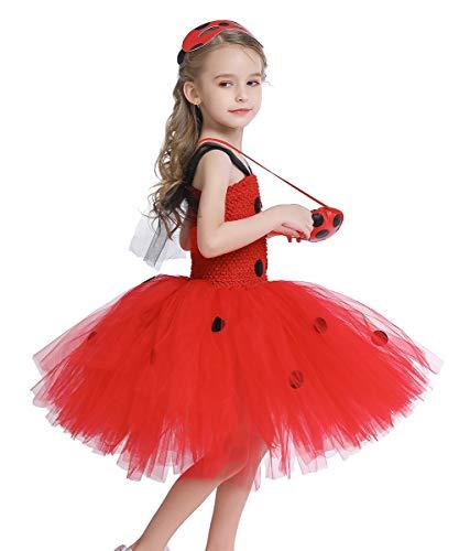 MYRISAM Ragazze Vestito da Tutu Ladybug Costume per Bambina Coccinelle Travestimento Halloween Carnevale Costumi Cosplay Outfit con Maschera + Borsa Yo-Yo 7-8 Anni