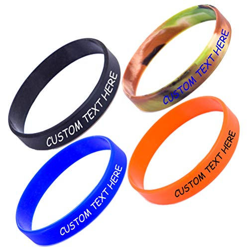 nircsom Pulsera de silicona personalizada – Pulsera de goma personalizada personalizable, personalizable, para motivación, eventos, regalos, apoyo, causas, recaudación de fondos