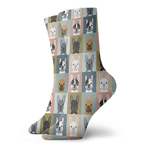 Men's Funny Crew Socks French Bulldog Portraits Pattern Dog Person Gift Love Animal Pet Puppy Frenchie Bulldog Valentines Throw Pillow Sock Novelty Fun Funny Gift