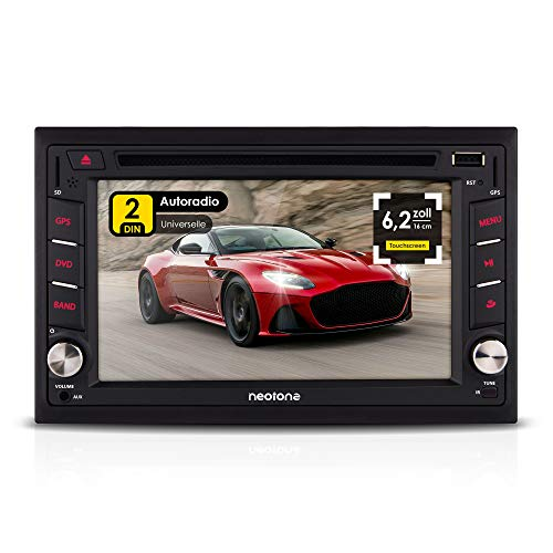 NEOTONE NDX-300W | Navigation mit Europakarten | universelles 2DIN Autoradio | 6.2 Zoll | Bluetooth | Touchscreen | DVD-Player | 16GB MicroSD inklusive
