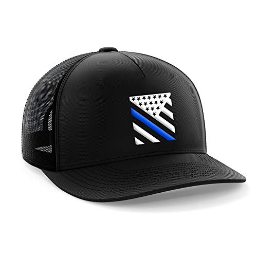 Tactical Pro Supply - American Flag Black Snapback Hat - Thin Blue Line Fitted Cap with Embossed Logo - USA Trucker Hat for Men & Women