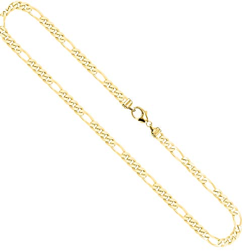 EDELWEISS Cadena para Hombre de Oro Real de 4.3 mm, сadena de Diamantes Figaro Oro Amarillo 18 k 750, Cadena de Oro con Sello, con сierre de mosquetón, Long. 60 cm, p. 31.3 g