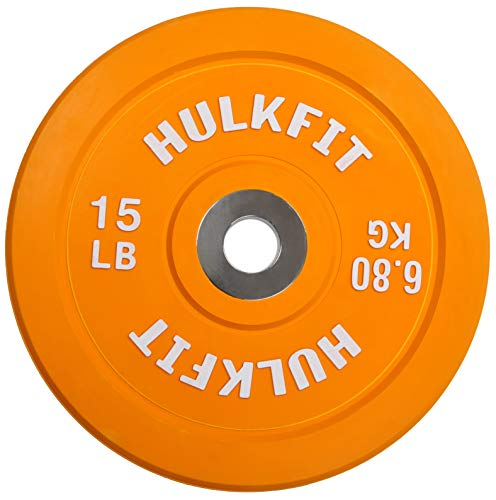 HulkFit Color Coded Olympic 2-Inch Rubber Bumper Plate with Steel Hub for Strength Training, Weightlifting and Crossfit, Single (15 Pounds), Orange