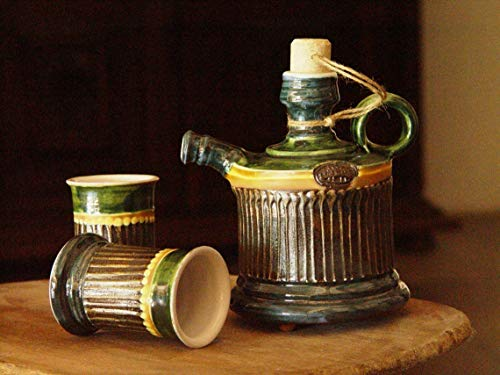 Green Ceramic set, Ceramics and Pottery, Small Handmade Earthen Pitcher with Two Mugs, Danko, Home decor, Rustic Kitchen