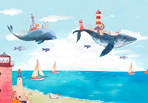wandmotiv24 Fototapete Kinderzimmer Himmel Wal Fliegen Meer XS 150 x 105cm - 3 Teile Fototapeten, Wandbild, Motivtapeten, Vlies-Tapeten Aquarell Strand Leuchturm Boote Fantasie M5823