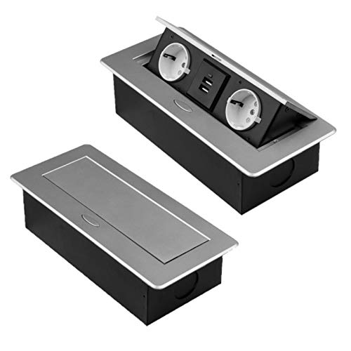 M1357 - Einbausteckdose mit 2x USB in den Farben silber oder schwarz (2er/2xUSB/silber)