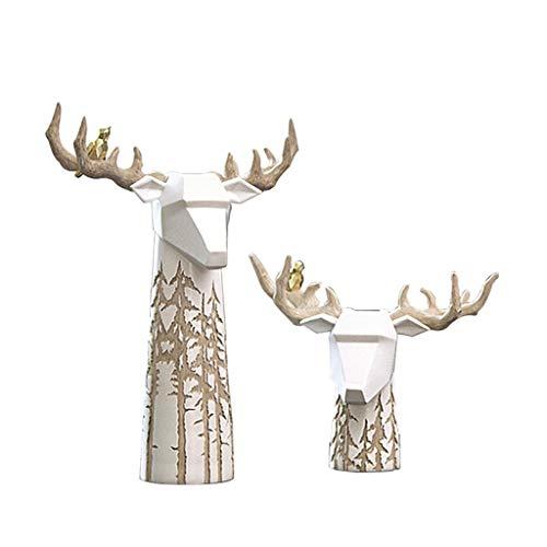 SISIZHANG Moderne nordische Elch-Blumen-Anordnung Wohnzimmer-Couchtisch-Fernsehschrank-Konsolen-Kabinett-Dekorations-Handwerk (Color : White, Size : 27 * 14 * 37CM)