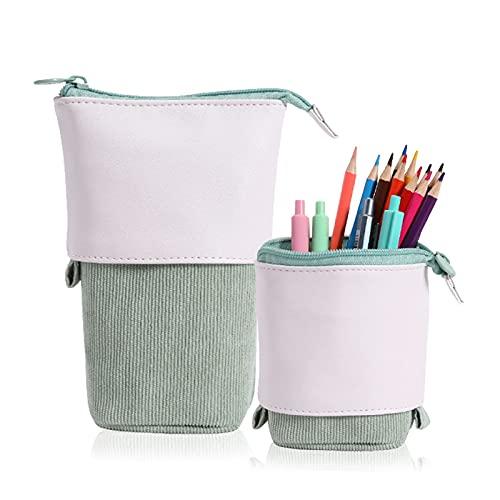 Pop Up Pencil Case Telescopische houder mapje, PU Cord Stand Up Pencil Case Meisjes ideaal voor studenten Spring Make-up…
