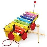 Zeyujie Drag Puppy Hand Knock on Piano, Pequeño perro amarillo, juguete musical, golpe en piano, coche, juguete de arrastre, piano de percusión, xilófono infantil, instrumento musical para bebés, xiló