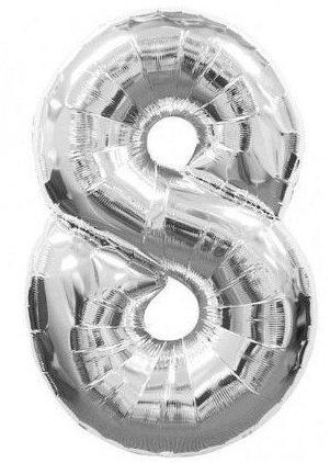whitishPARTY getal 8 Acht – 40 cm / 16 inch zilver chroom – folieballon voor lucht of helium, voor bruiloft, verjaardag, feesten en jubileum