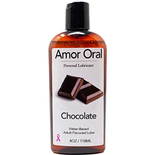 Amor Oral Chocolate Flavored Lube, Edible and Body Safe, Water-Based Personal Lubricant 4 Ounce Chocolate