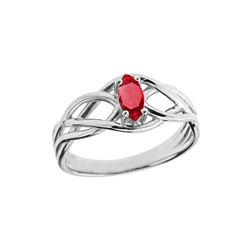 Exquisite Sterling Silver Ruby Celtic Knot Engagement/Promise Ring (Size 7.5)