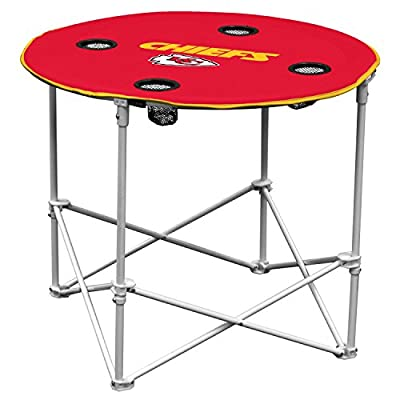 Kansas City Chiefs Collapsible Round Table with 4 Cup Holders and Carry Bag, Multi