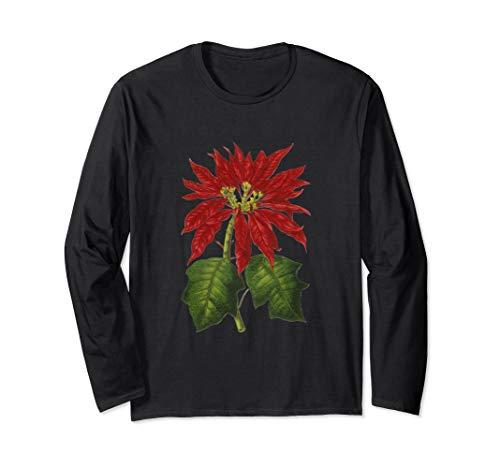 Traditional Christmas Poinsettia Plant Long Sleeve T-Shirt