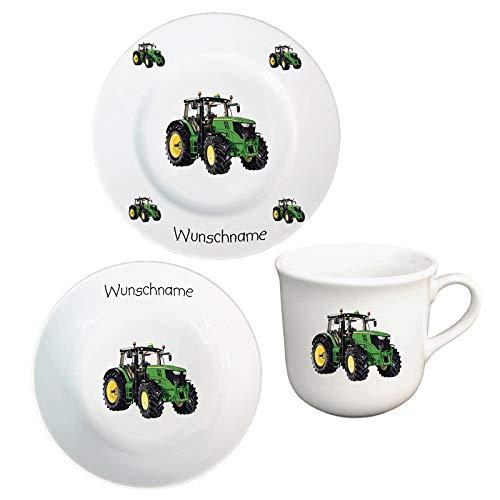 Kinder Frühstücksservice 3-TLG. Porzellan Traktor Teller Becher Schale personalisierbar mit Wunschname Name Kindergeschirr mit Namen personalisiert