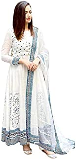 Ganakshi Women's Designer Rayon Hand Block Printed White Color Anarkali Kurti with Dupatta Set for Womens and Girls
