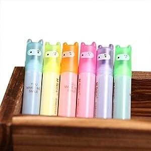 TOOGOO 6pzs Plumas resaltadoras Punta de punto fino marcadores permanentes Ninja lindo Papeleria de novedad Colores surtidos