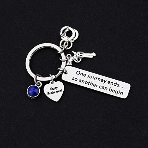 Product Image 3: HOLLP Police Retirement Gifts Police Officer Retired Keychain One Journey End.So Another Can Begin Keychain Police Jewelry Gift for Police Officer (Keychain)