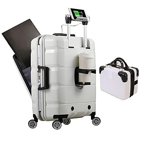 GFFTYX AIMU. Set di Bagagli con Porta di Ricarica USB Multifunzionale in 2 Pezzi, Valigia Rigida con Lucchetto TSA Integrato, Valigia Trolley con Scomparto Anteriore per Computer