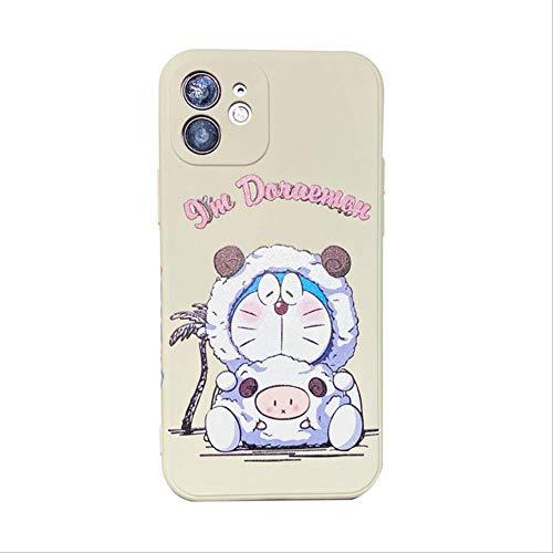 Patrón Lateral Cute Doraemon Case para iPhone 12 Mini 11 Pro MAX Cartoon X XR XS MAX 6 6s 7 8 Plus SE 2020 Funda de Silicona Suave para iPhone XR 1