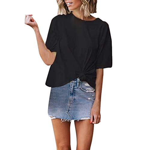 Buy Bargain Lovor Women's Summer Short Sleeve Solid Casual Loose Side Twist Knotted T Shirts for Wom...