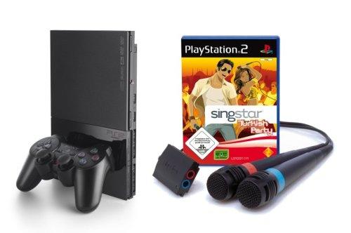 PlayStation 2 - PS2 Konsole, black inkl. SingStar Turkish Party + Mikrofone