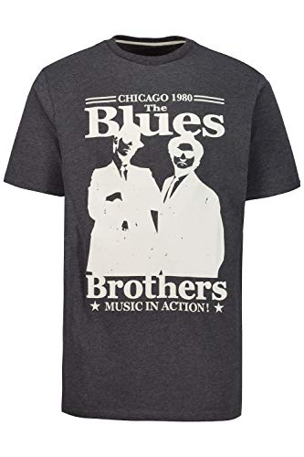 JP 1880 Herren große Größen Übergrößen Menswear L-8XL T-Shirt, Bandshirt, Blues Brothers, Halbarm Dirty Black 7XL 723288 10-7XL
