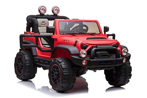 Mondial Toys Auto ELETTRICA 12V per Bambini 2 POSTI Maxi Fuoristrada con Telecomando 2.4G Soft Start AMMORTIZZATORI Full Optional MT-018 R