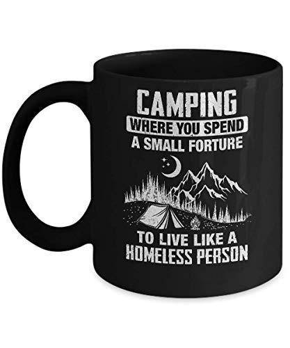 N\A Lustiges Zelten lebt wie eine obdachlose Kaffeetasse