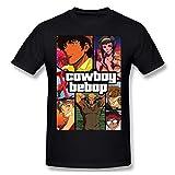 MarjorieAFloyde Cowboy Bebop Cómodo Mans Tops Manga Corta Camiseta Negro