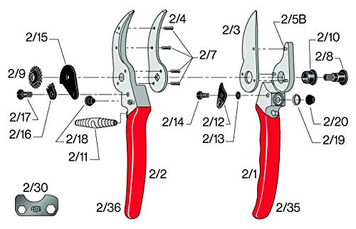 Felco f-2 068780 classic manual hand pruner, f 2 4 anvil blade with a sap groove a hardened bolt and nut to assure exact adjustment of both the cutting and anvil blades rubber cushion and shock absorber