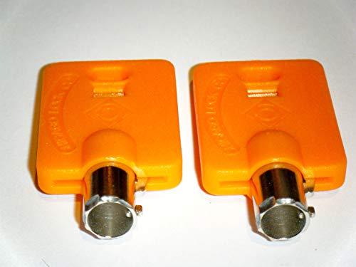 Elevator Fire Service Keys FEO-K1 KONE K1 Two Keys with HPC Brand with Orange Key Caps Easy Identification Chicago Brand Key Caps Two Steel Keys