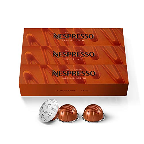Nespresso Capsules VertuoLine, Hazelino Muffin, Mild Roast Coffee, 30 Count Coffee Pods, Brews 7.8oz
