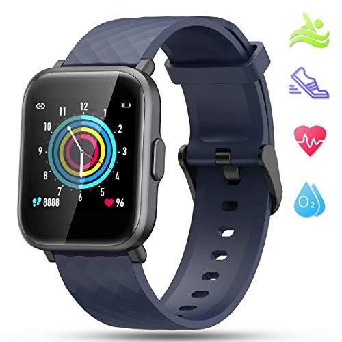 LIDOFIGO Smartwatch Fitnessuhr Touchscreen Fitness Armband Pulsuhr IP68 Wasserdicht Sportuhr Fitness Tracker mit Stoppuhr Schlafmonitor Kompass Schrittzähler Uhr Smartwatch Herren Damen Android Blau
