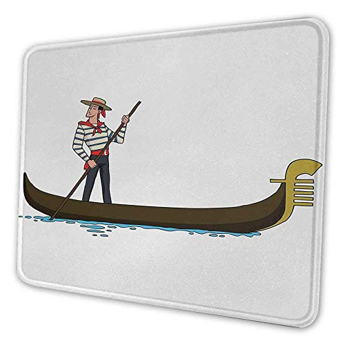 Cartoon Mouse Pad Pattern Bild der Gondel in Romance City Venedig Europäisches Symbol der Liebe Italienisches Dekor Wasserbeständiges Mouse Pad Braun Weiß