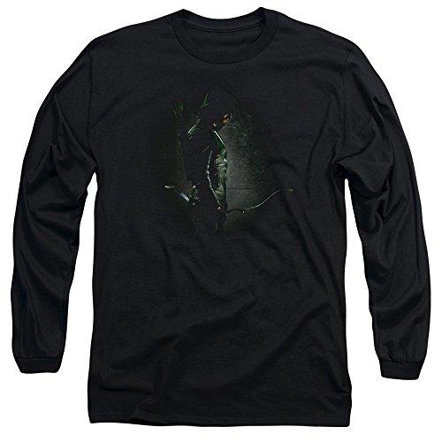 Green Arrow - Hommes dans le manchon de longues ombres T-shirt, X-Large, Black