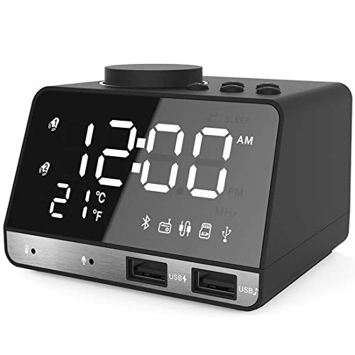 """Alarm Clocks for Bedrooms, 4.2"""" LED Digital Alarm Clock Radio with FM Radio, Dual USB Port for Charger, Snooze, Bluetooth AUX TF Card Play, Battery Backup, Best Gift for Men"""