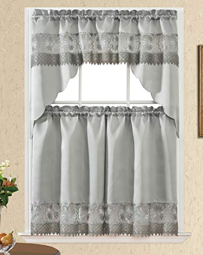 Daisy Dream. Kitchen Cafe Curtain Set for Small Windows. Satin Fabric with Matching Color Daisy Embroidery and Lace. (Grey, Swag and 36 inches Tiers Set)