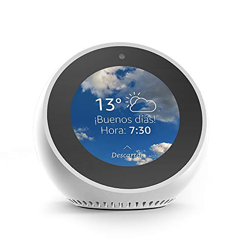 Amazon Echo Spot - Reloj despertador inteligente con Alexa, blanco