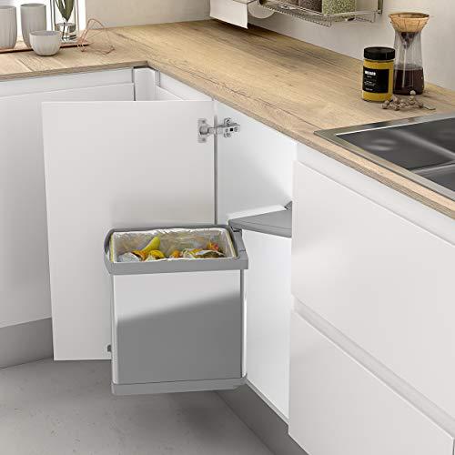Casaenorden - Cubo de Basura Giratorio 21L de Acero Inoxidable para Mueble de Cocina