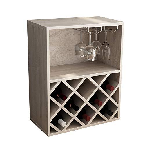 soges Mesa de Estante para Vino con Soporte de Vidrio, Soporte de Almacenamiento de exhibición de Organizador de Botellas de Vino Independiente sin oscilaciones para despensa de Cocina, S1-SZK