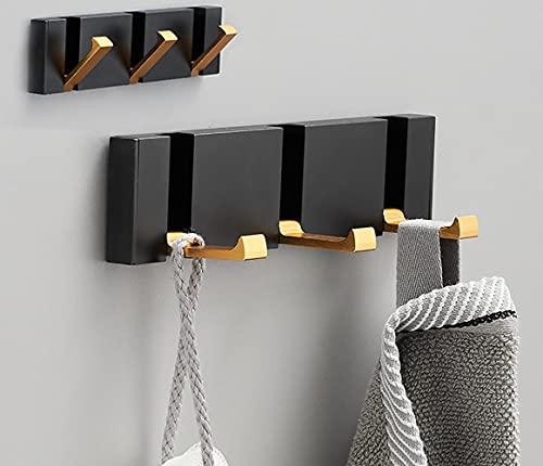 Deshop Paquete de 2 ganchos autoadhesivos para abrigos, para colgar en la pared, sin agujeros de perforación, baño, cocina, dormitorio, armario (tres ganchos)