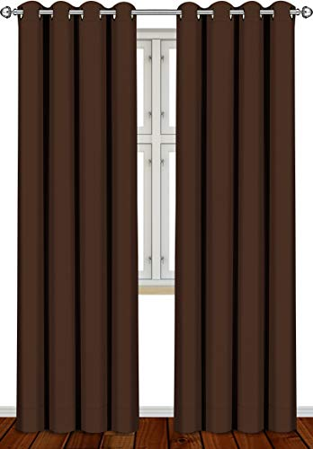 Utopia Bedding 2 Panels Grommet Blackout Curtains Thermal Insulated for Bedroom, W52 x L84 Inches, Chocolate