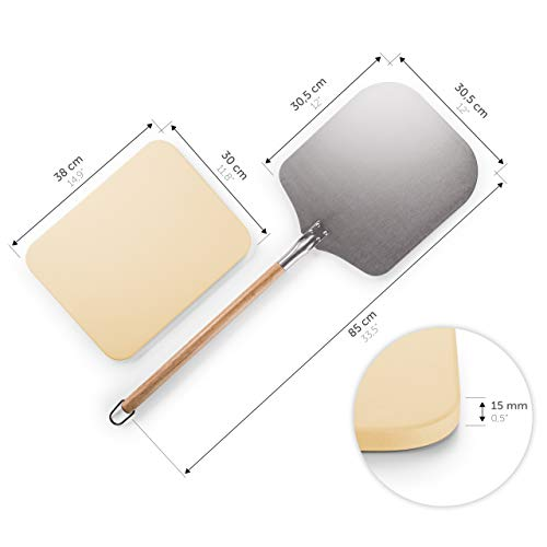 Blumtal Pizza Stone with Paddle; Pizza Stone for Oven and BBQ with Aluminium Peel and Long Handle Set