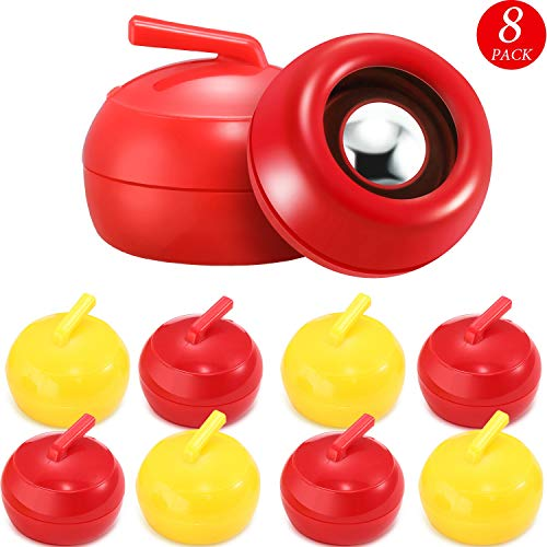8 Pieces Tabletop Curling Game Pucks Replacement Shuffleboard Rollers Sliding Bead Games for Kids and Adults (Red, Yellow)