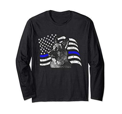 Thin Blue Line Police K9 Gift for German Shepard Lovers Long Sleeve T-Shirt