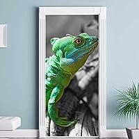 3Dドアステッカーウォールステッカー 緑のトカゲのドアのステッカー動物Diy自己粘着防水紙ポスター