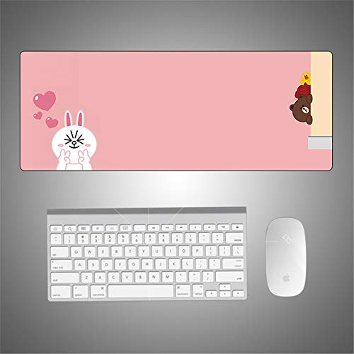 Gaming muismat bureau onderlegger roze karikatuurkonijntje rechthoekig waterdicht groot kantoor computer toetsenbord muis Speed thuisbereik laptop comfort verbetert precisie snelheid S750 700x400x5mm multicolor