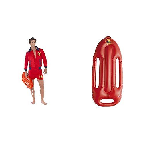 Smiffys Herren Baywatch Rettungsschwimmer Kostüm, Oberteil und Kurze Hose, Größe: M, 20587 & Aufblasbares Rettungsbrett, Baywatch, 73cm, One Size, Rot, 38085